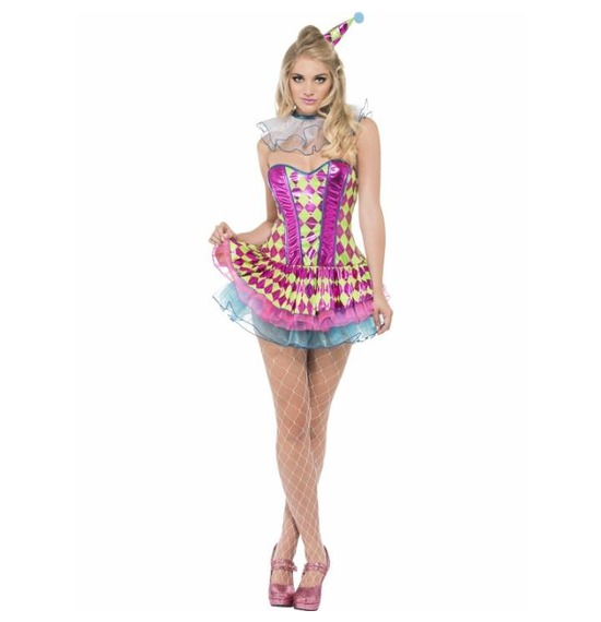 Fever Neon Harlequin Clown Costume