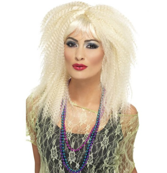 80's Trademark Crimp Wig, Blonde