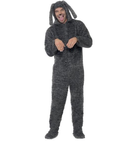 Fluffy Dog Costume, Grey