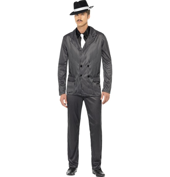 Gangster Costume Black Pinstripe