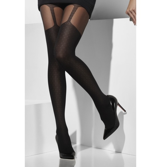 Sheer Tights with Suspender Print