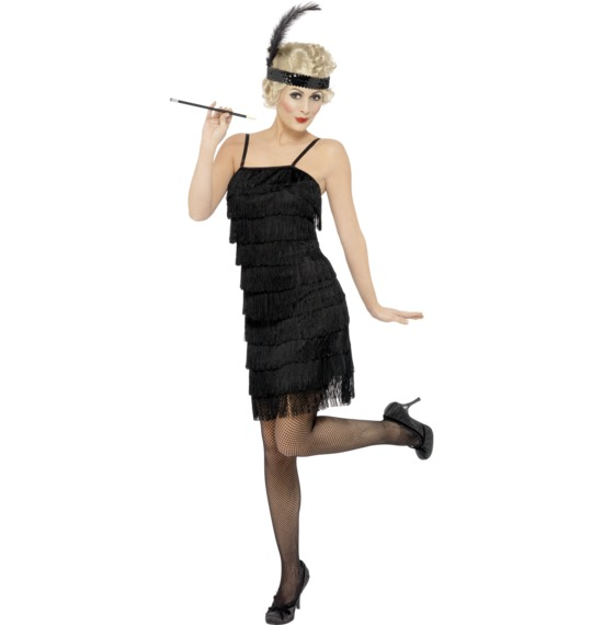 Fringe Flapper Costume Black Dress