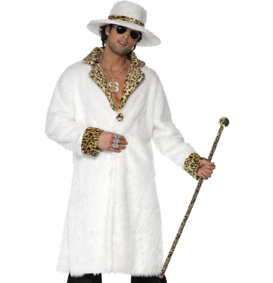 Pimp Costume, White and Leopard Skin
