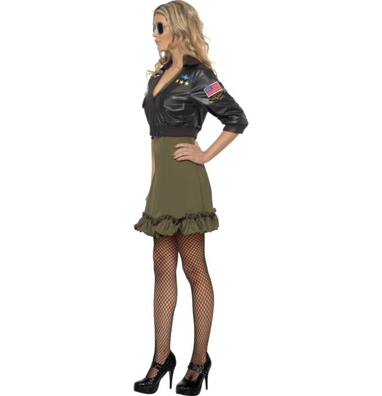 Sexy Top Gun Costume, Khaki Green