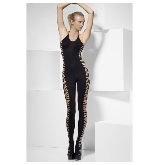 Halterneck Bodysuit, Black, with Slashed Sides