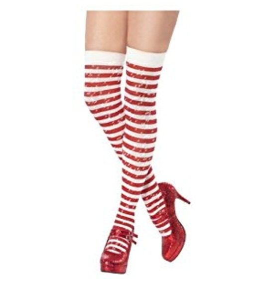 Stripy Thigh-High Stockings with Sparkle