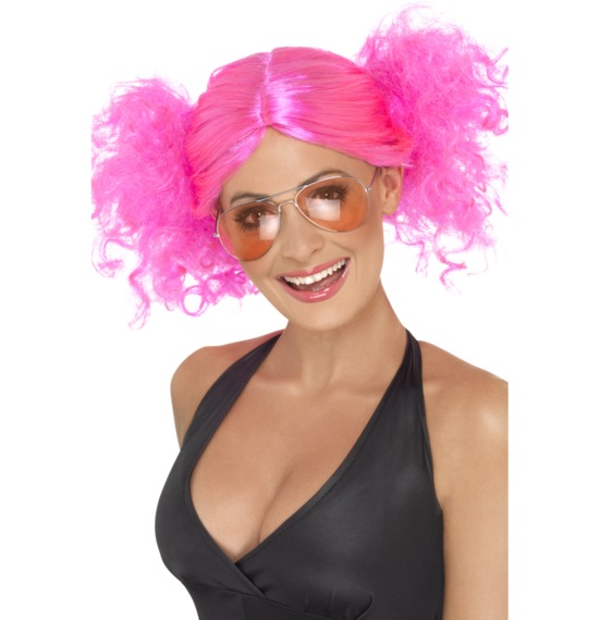 80's Bunches Pink Wig