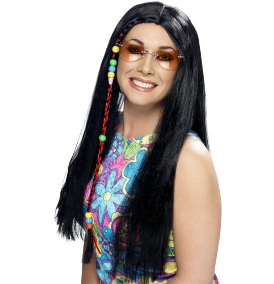 Hippy Party Wig Black