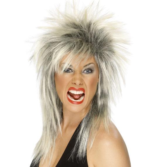Rock Diva Blonde Black Wig