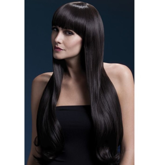 Fever Bella Wig, Extra Long, Wavy With Fringe, Brown