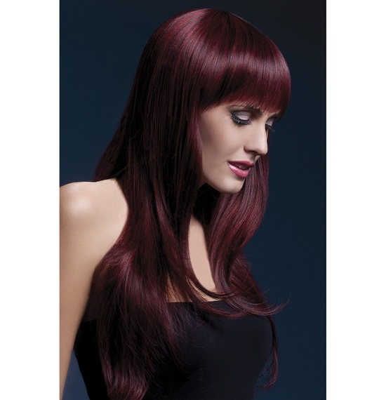 Fever Sienna Wig, Long, Wavy, Two Tone,Black Cherry
