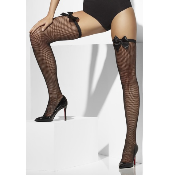 Fishnet Hold-Ups Black with Bow