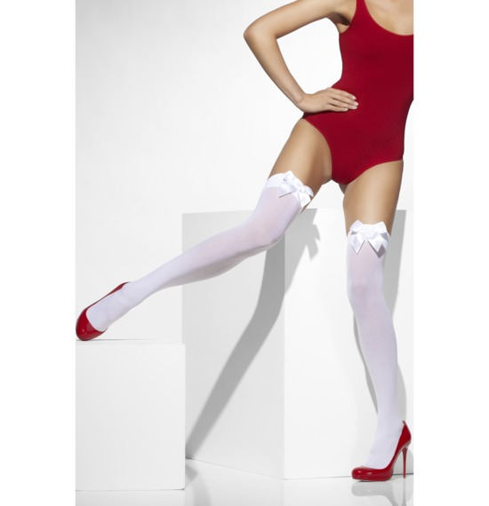 Opaque Hold-Ups, White, with White Bows