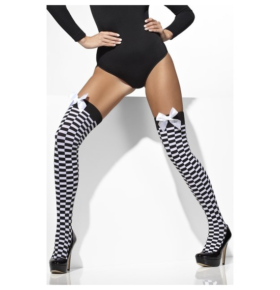 Opaque Hold-Ups, Black & White, Check Print with Bows