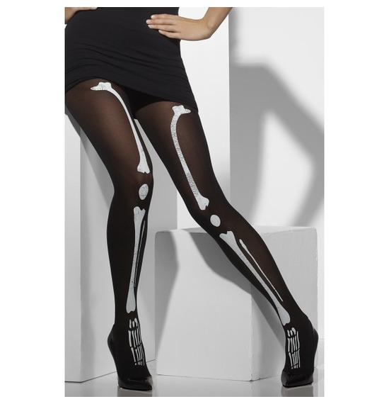 Tights, Black, With Skeleton Print