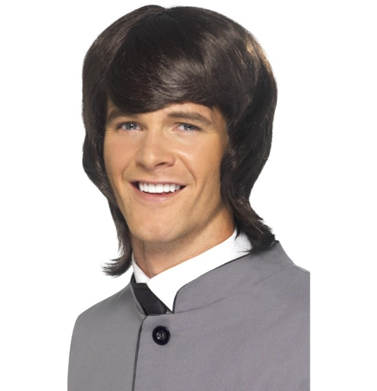 60's Male Mod Brown Long Wig