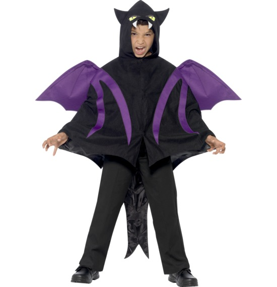 Hooded Creature Cape with Attached Wings and Tail