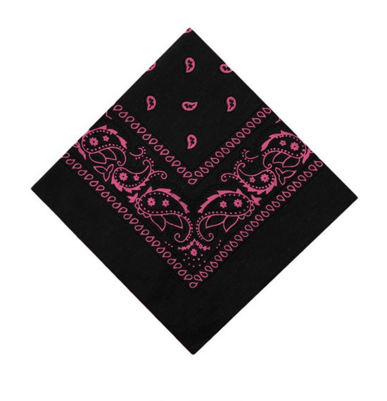 Black and Pink Paisley Bandana