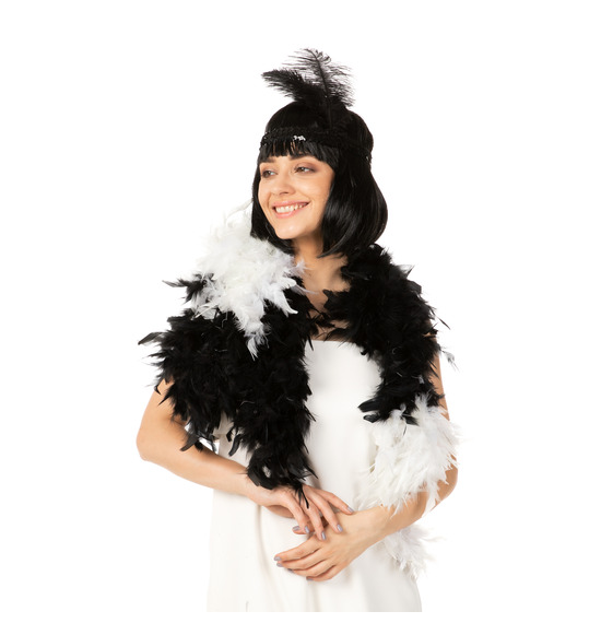 Luxury Feather Boa White and Black