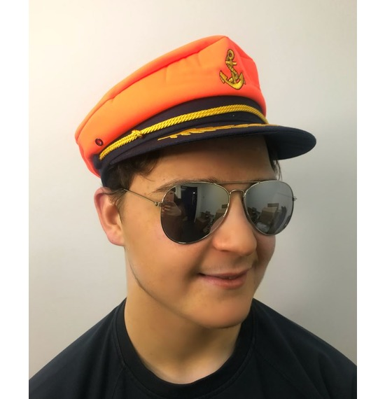 Orange Anchor Sailor Hat