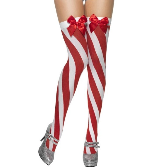 Candy Stripe Stockings with Bow