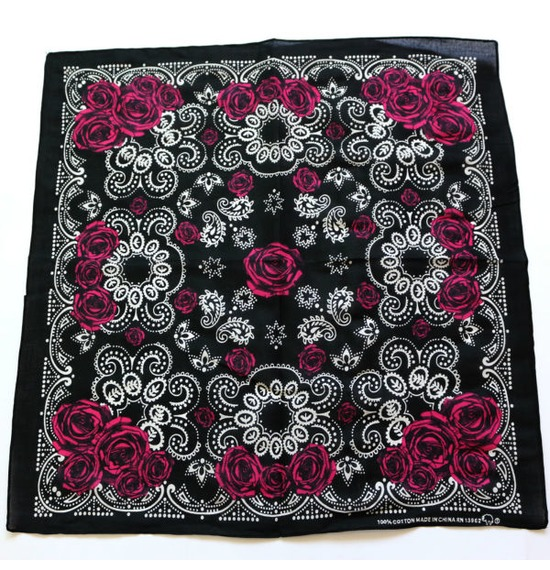 Black White Rose Design  Bandana