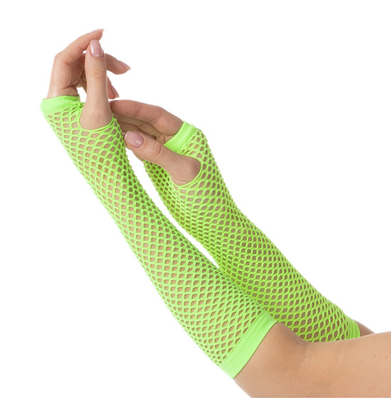 80's Neon Green Fishnet Gloves