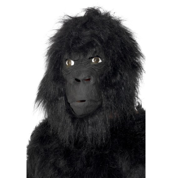 Gorilla Mask With Hair, Black