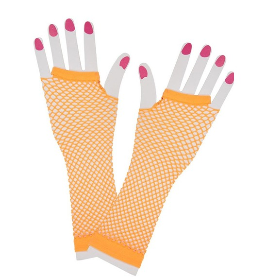 80's Orange Fishnet Gloves
