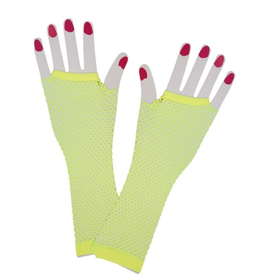 80's Fishnet Yellow Gloves