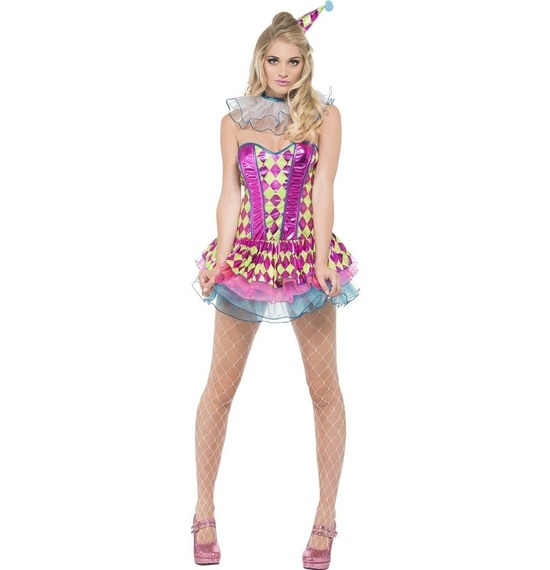 Fever Neon Harlequin Clown Costume