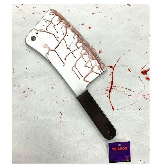 Realistic Foam Bloody Butcher Knife Weapon