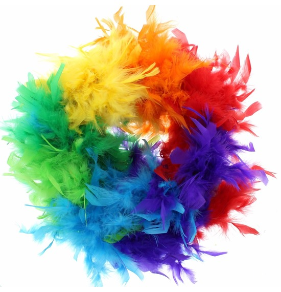 Luxury Feather Boa Rainbow