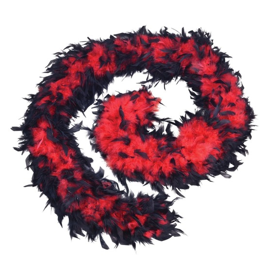 Luxury Feather Boa Red and Black