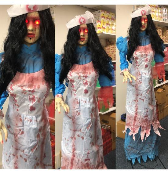 Human Size Asylum Nurse Zombie Prop Halloween