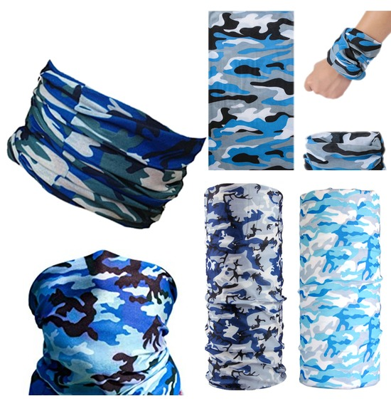 Assorted Blue Camo Bandana Multi Use