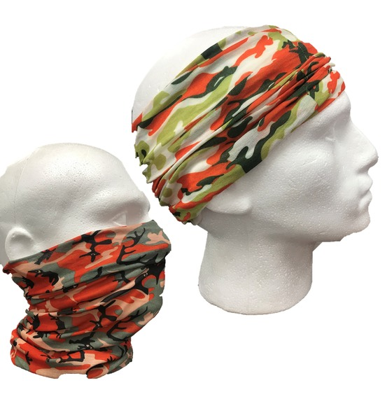 Assorted Orange Camo Bandana Multi Use