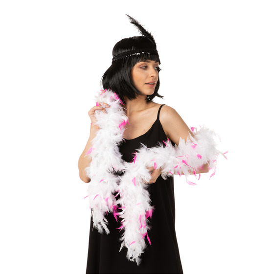 Luxury Feather Boa White with Pink Tip 95grams