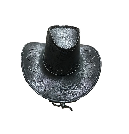 Black Pattern Leather Look Cowboy Hat