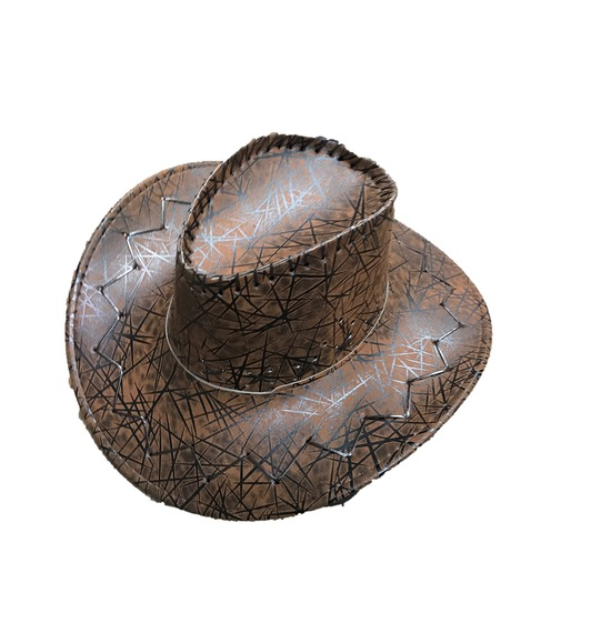 Brown Pattern Leather Look Cowboy Hat