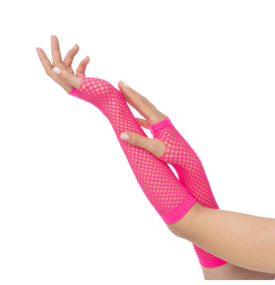 80's Hot Pink Fishnet Gloves