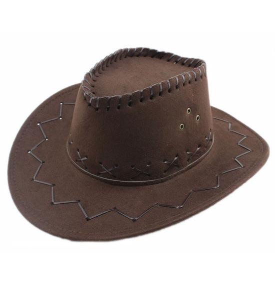 Dark Brown Leather Look Cowboy Hat