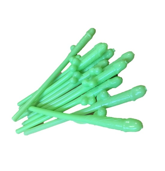 Bright Green Willy Straws