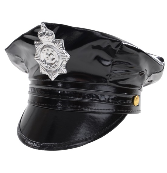 Black Leather Look Police Hat