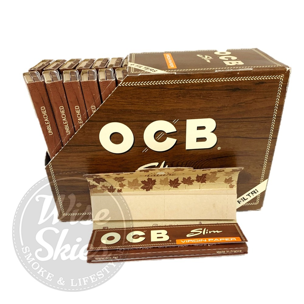 OCB Brown King Size Slim Virgin Unbleached Rolling Paper /& Filters Papers +Tips