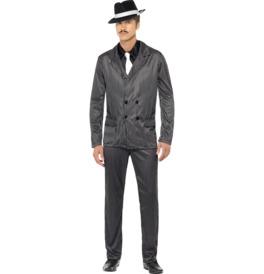 Gangster Costume, Black Pinstripe
