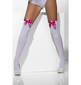 Opaque Hold-Up Stockings, White with Pink Bows