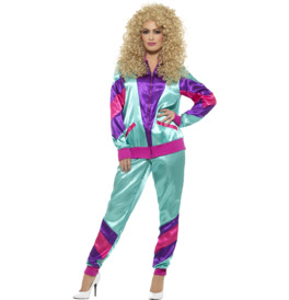 Smiffys 80s Height of Fashion Shell Suit Costume, Purple
