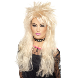 Smiffys 80s Long Mullet Wig Blonde