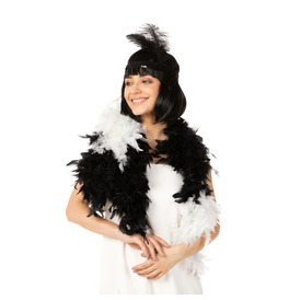 Stylex Party Feather Boa, White and Black